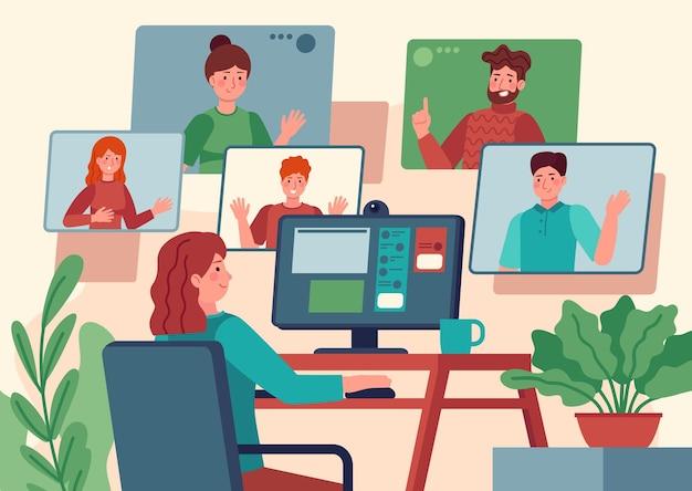 ビデオ会議。コンピューターの画面、同僚とのオンライン通信、ビデオチャットベクトルの概念で友人とチャットする自宅の女性。同僚とのインターネット会議、eラーニング