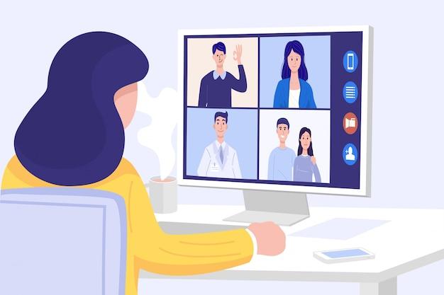 自宅でのビデオ会議、自宅で友達とビデオ通話会議を行うクローズアップの女性。