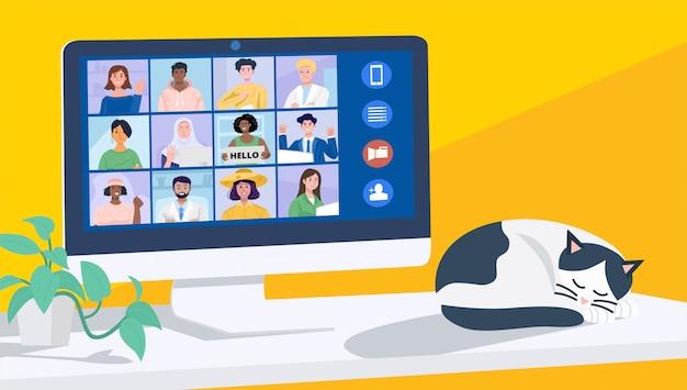 自宅でのビデオ会議、コンピューターを介した同僚とのオンライン会議。図