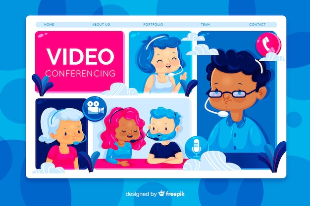 Video conferencing concept for landing page