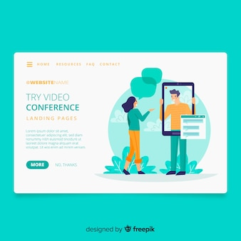 Video conferencing concept landing page