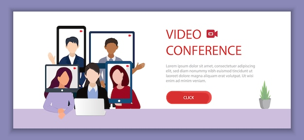 Video conferencing  illustration, work from home concept and place for text