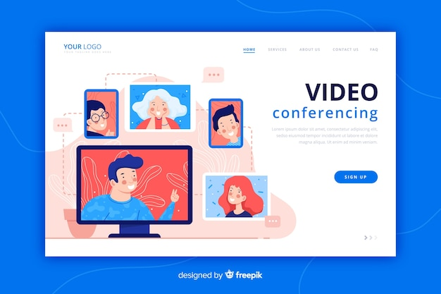 Video conferencing landing page flat style