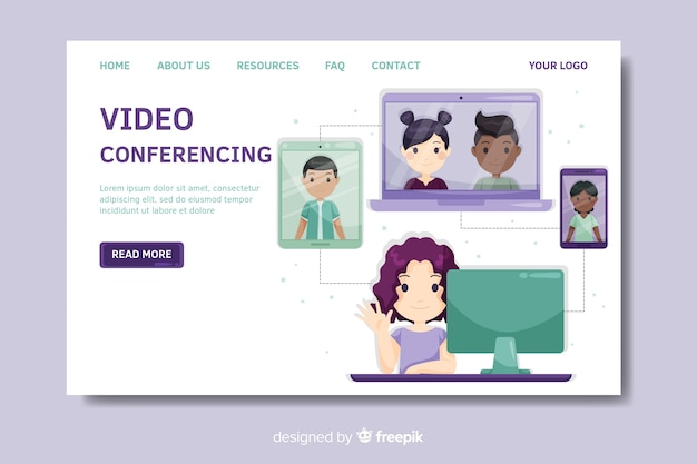 Video conferencing landing page template