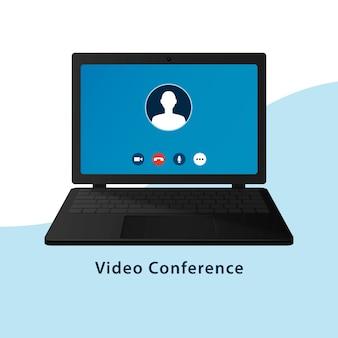 Экран вызова видеоконференцсвязи или чата на экране ноутбука