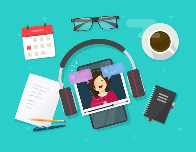 업무용 책상 테이블에서 온라인으로 만들거나 휴대 전화 또는 스마트 폰 평면 만화 일러스트에서 비디오 자습서를 시청하는 비디오 콘텐츠