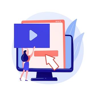 ビデオコンテンツクリエーター、ブロガーのカラフルな漫画のキャラクター。ビデオ編集、アップロード、カット。ビデオショットのアレンジ、操作。