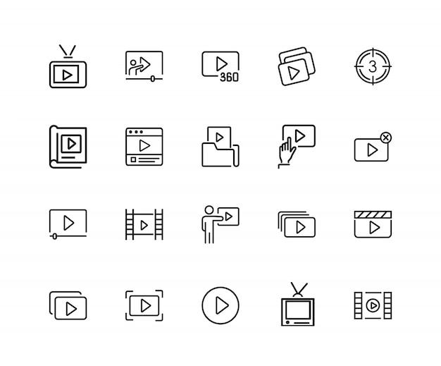 비디오 컨텐츠 아이콘. 스 물 라인 아이콘의 집합입니다. 플레이어, 스크린, tv. 비디오 컨텐츠 개념