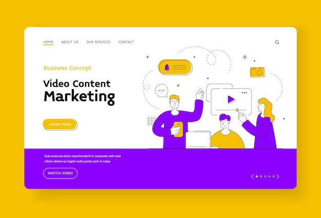 Video content marketing landing page banner template. men and woman leaving comments and watching interesting videos in internet. video blogger content. flat style illustration, thin line art design