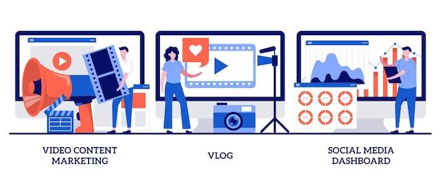 Маркетинг видеоконтента, видеоблог, концепция панели инструментов социальных сетей с крошечными людьми. набор абстрактных векторных иллюстраций онлайн цифровой кампании. цифровой рекламный бизнес, метафора потокового онлайн-вещания.