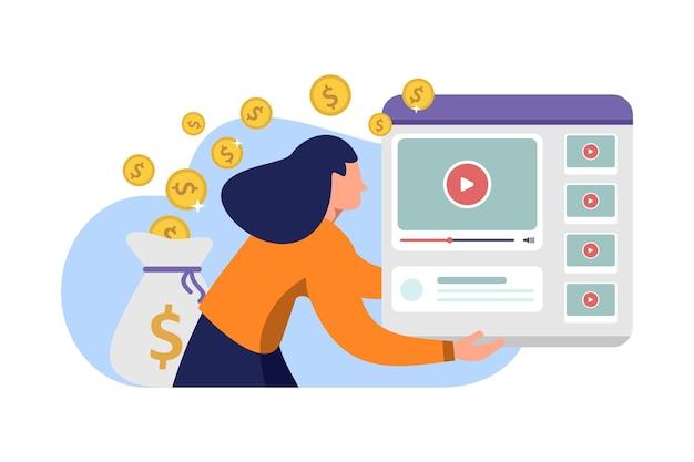 ソーシャルメディアのvlogオンラインビジネスからお金を稼ぐビデオコンテンツの現金化