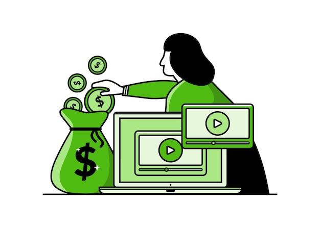 비디오 콘텐츠 수익 창출 벡터 일러스트 소셜 나에서 vlog 온라인 비즈니스에서 돈을 버는