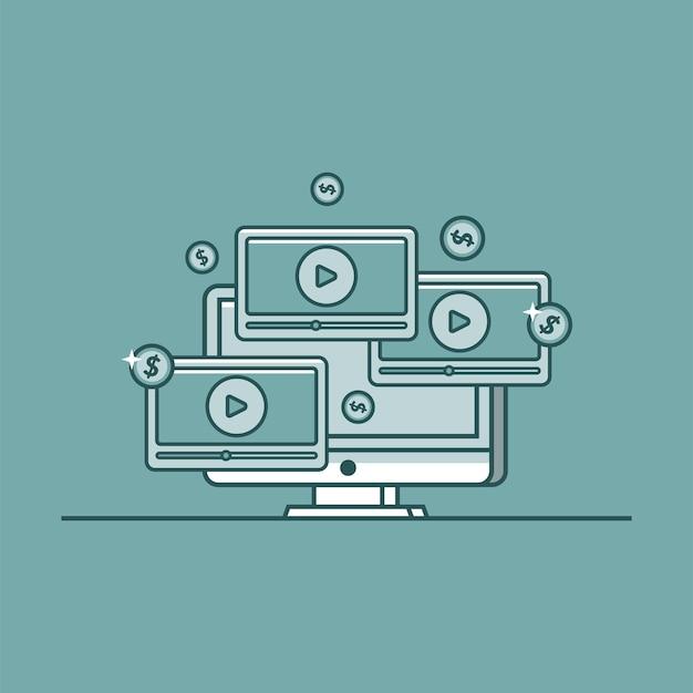 ビデオコンテンツの現金化ベクトル図ビデオコンテンツアイコンでお金を稼ぐ