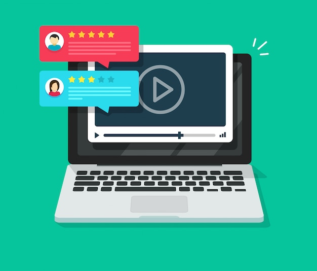Video content review testimonials online on laptop computer or internet webinar feedback and reputation rate chat evaluation on pc flat cartoon