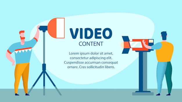 Video content studio flat banner vector template
