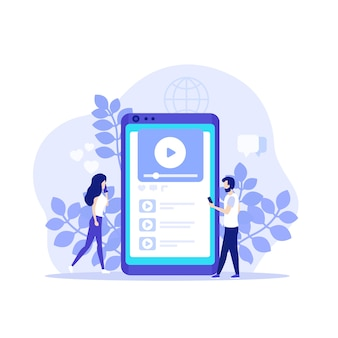Video content, video-sharing social network, mobile player app and people