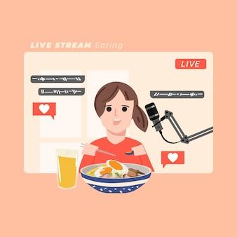 Создатель видео ест много еды и записывает видео в домашней студии. мукбунг делает asmr звуком еды. концепция прямой трансляции - иллюстрация Premium векторы