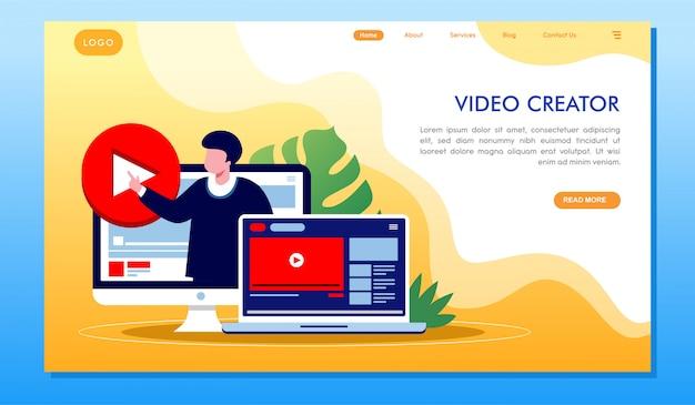 Video creator multimedia development website landing page Premium Vector