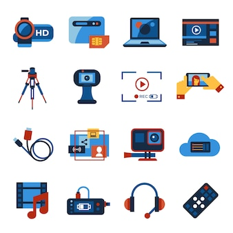 Video on demand online streaming technology icons collection