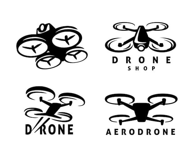 비디오 드론 쿼드로콥터 디자인 엠블럼.