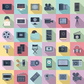 Video editing icons set flat vector. screen audio player. online video playlist