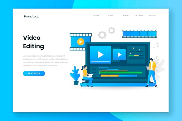 Video editing illustration landing page with laptop