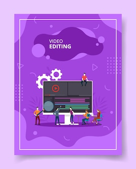 Video editing people coworking on computer, poster.