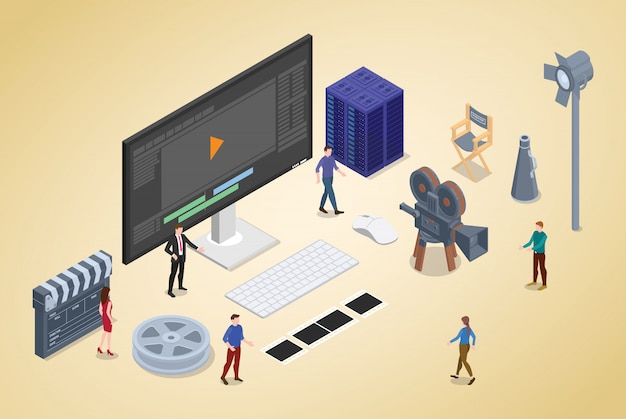 Video editing production with team people and editor with modern isometric