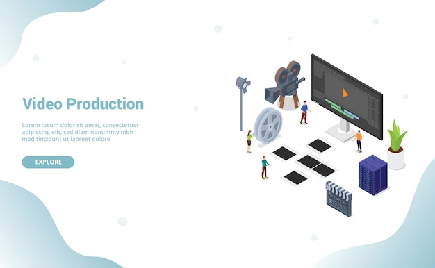 Video editing production with team people for website template or landing homepage
