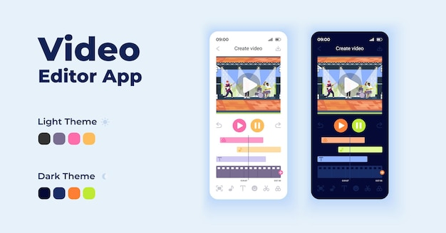 Video editor cartoon smartphone interface vector templates set. mobile app screen page night and day mode design. photo slideshow creation ui for application. phone display with flat character