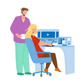 Video editor working on laptop at workplace vector. young man and woman couple video editor work together and editing film or clip. characters movie production flat cartoon illustration