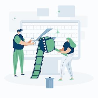 Editor video che lavora con clip video, illustrazione in stile cartone animato