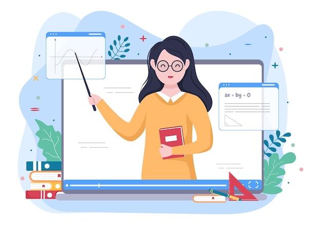 교육을 위한 다양한 공식과 질문을 가르치는 교사와 비디오 교육 콘텐츠 작성자 배경. 평면 디자인