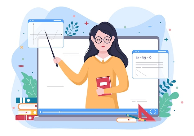 Video education content creator background with teachers who teach various formulas and questions for training. flat design