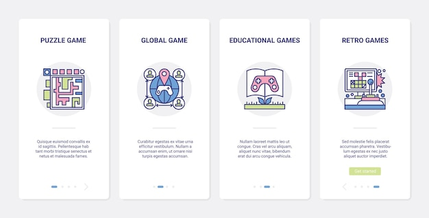 Video education games online multiplayer ui ux onboarding mobile app page screen set.