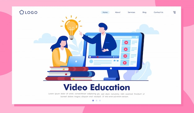 Video education landing page website illustration vector