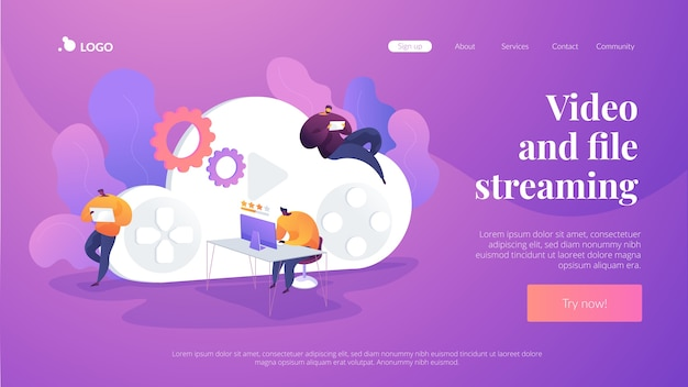 Video and file streaming landing page template