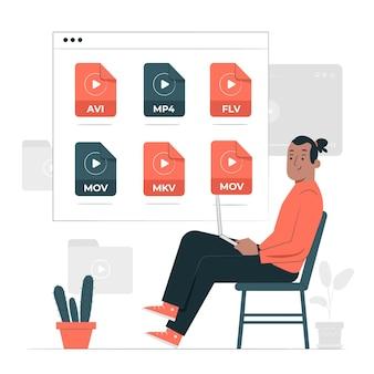 Illustrazione di concetto di file video