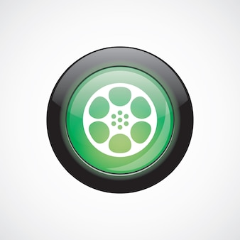 Video film glass sign icon green shiny button. ui website button