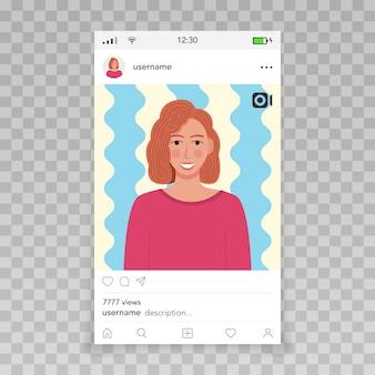 Instagramのテンプレートによるビデオフレーム女性のアイコン