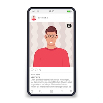 Video frame by social networks template on screen smartphone male icon vector illustration