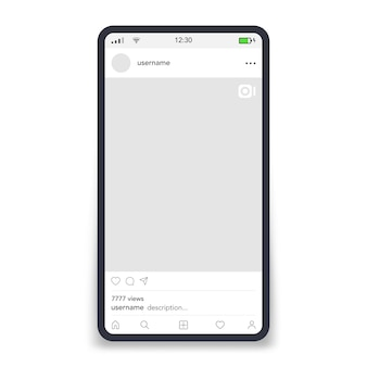 Video frame by social networks template on screen smartphone vector illustration