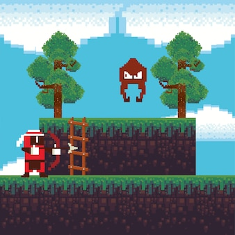 Video game archery warrior in pixelated scene
