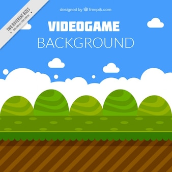Video game background with bushes in flat style