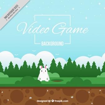 Sfondo del video gioco con un coniglio