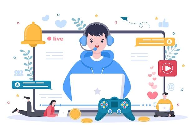 남자와 비디오 게임 블로거 콘텐츠 생성기 배경 헤드셋을 사용하여 비디오를 온라인으로 만들거나 게임 플랫 디자인을 재생합니다.