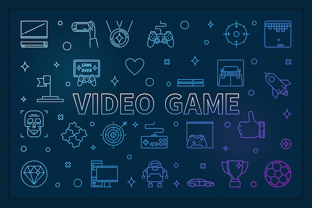 Video game blue horizontal banner - linear illustration