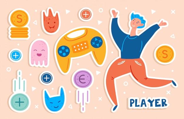 ビデオゲームのキャラクター。ジョイスティックでジャンプ男選手。前向きな気分。フラット手描きステッカーセット、クリップアート。