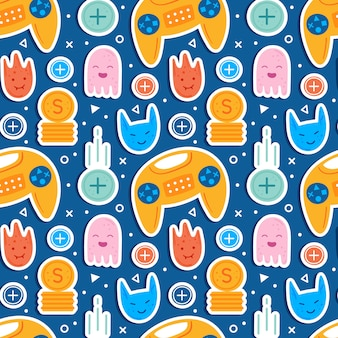 Video game characters. man player with joystick. emoji with different faces.  flying coins. computer game, stream, blog, vlog.  flat hand drawn   seamless pattern