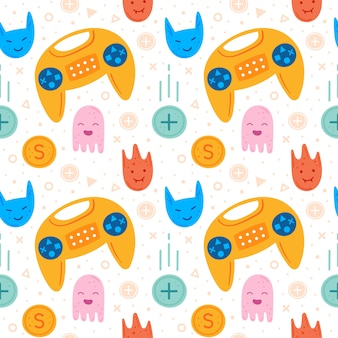 Video game characters. yellow joystick. emoji with different faces.  flat hand drawn   seamless pattern